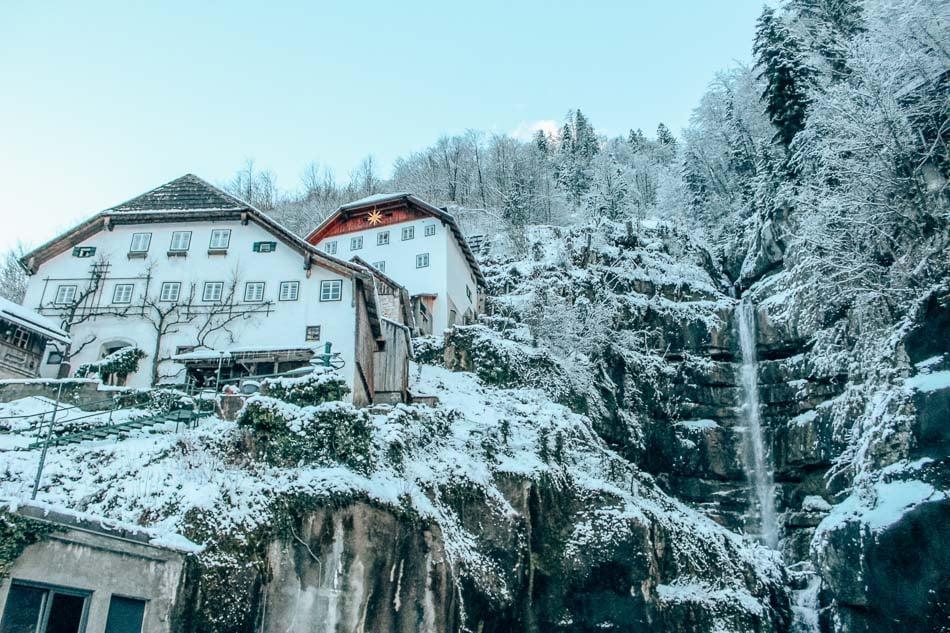 Frozen waterfalls in Hallstatt, Austria.