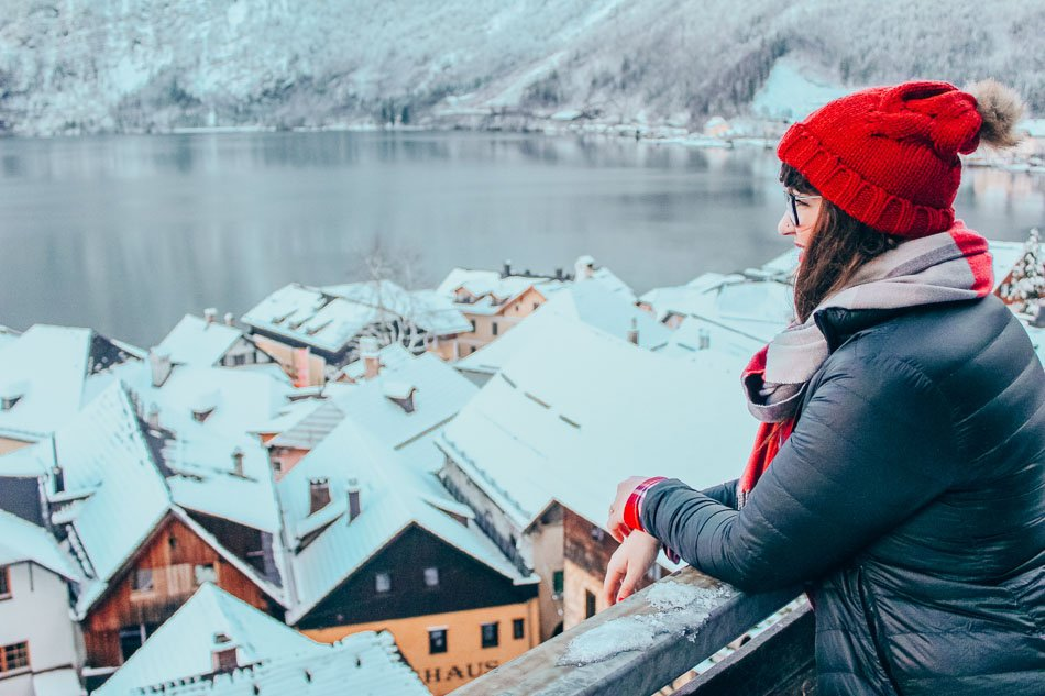 Looking out over the snowy roofs of Hallstatt, Austria.