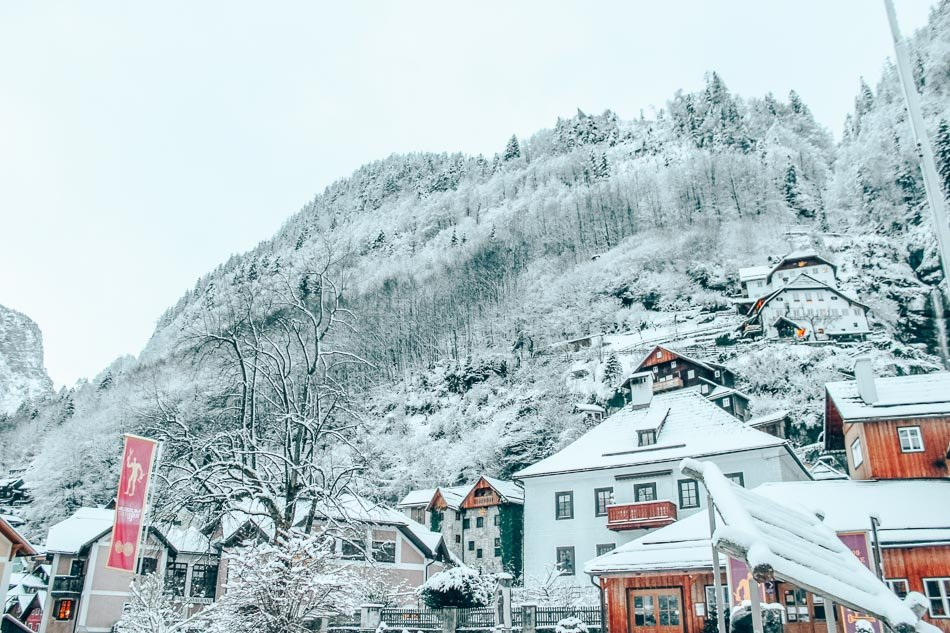 Hallstatt, Austria is built right into the side of a mountain and is criss-crossed with little staircases and walking-only paths. The higher you climb up the icy stairs, the emptier the streets are and the better the views!