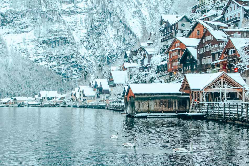 A winter morning in Hallstatt, Austria. Just us, the snow, and Sven, Svlad, and Stephen Swan.
