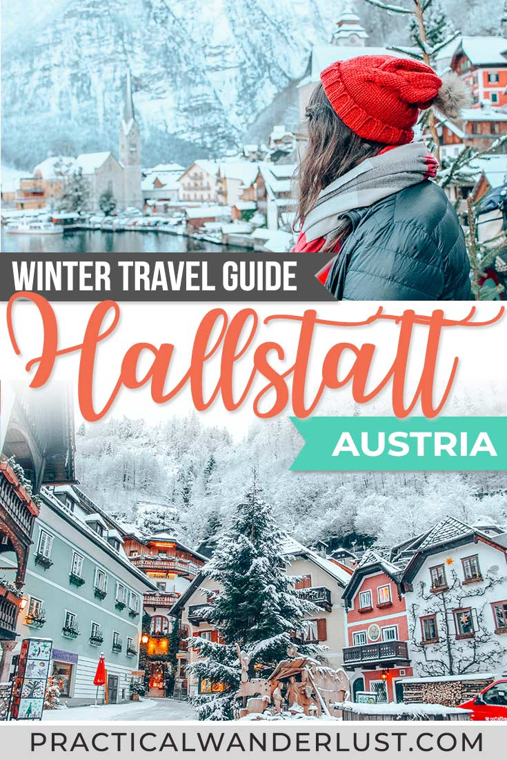 Hallstatt, Austria is a UNESCO world heritage village nestled in the Austrian Alps. Hallstatt in the winter is a winter wonderland - a Christmas fairytale come to life. This photo and travel guide to Hallstatt in winter will inspire your Europe winter travel plans! #Europe #Travel #winterwonderland #traveltips
