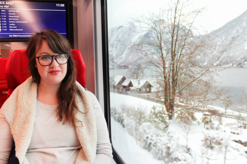 Riding the comfortable train from Vienna to Hallstatt was super easy thanks to our Eurail pass!