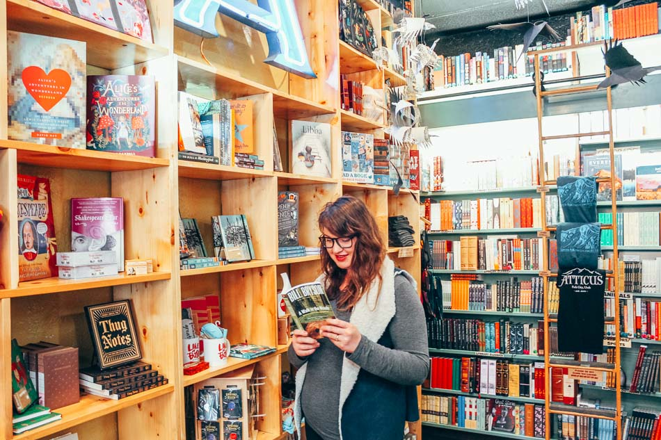 Girl reading in a bookstore in Park City, Utah.