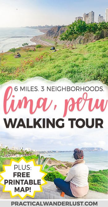 Explore 3 coastal neighborhoods in this self-guided free walking tour of Lima, Peru, one of the best South America travel destinations. The city walking tour is one of the best things to do in Lima. The tour passes through Miraflores, Barranco, and Chorrillos and includes directions, photo ops, and a free printable map & guide to take with you to Lima! data-pin-media=