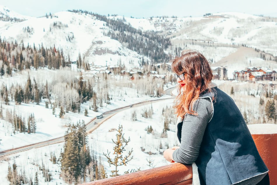 Looking out over snowy mountains in Park City, Utah.