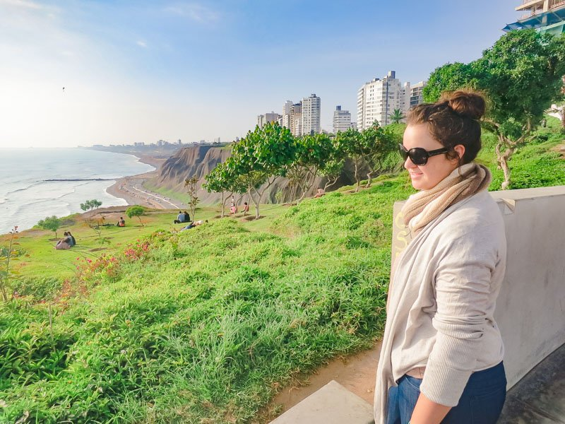 Looking out over Lima, Peru's coastline in Miraflores.