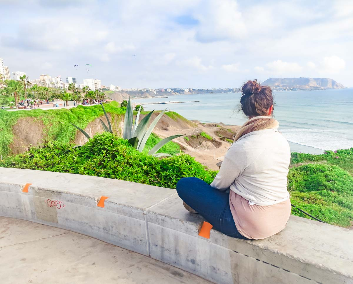 Watching the sun set in Lima, Peru in my travel jeans!