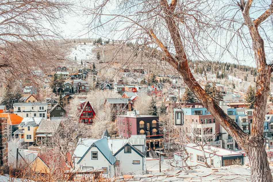 Houses on a snowy hill in Park City, Utah.