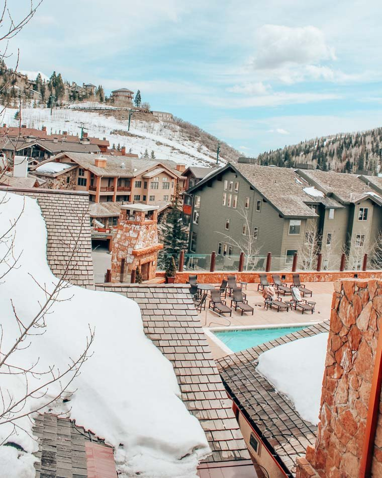 The best thing to do when you're not skiing or snowboarding in Park City, Utah is to relax in a spa, like this one at Stein Eriksen lodge!
