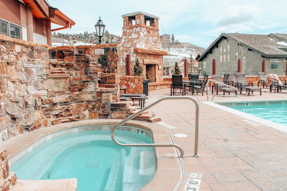 Hot tub and pool at Stein Eriksen lodge in Park City, Utah in the spring.