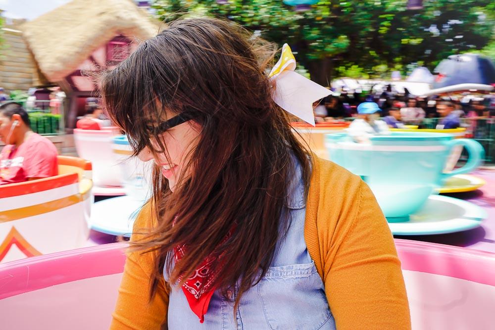 Lia on the Alice in Wonderland Mad Tea Cups ride in Disneyland, Anaheim, California!