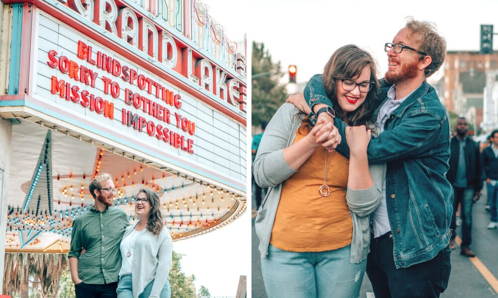 Just bein' mushy at Grand Lake Theatre and First Fridays in Oakland, California, where we've lived for over 6 years!