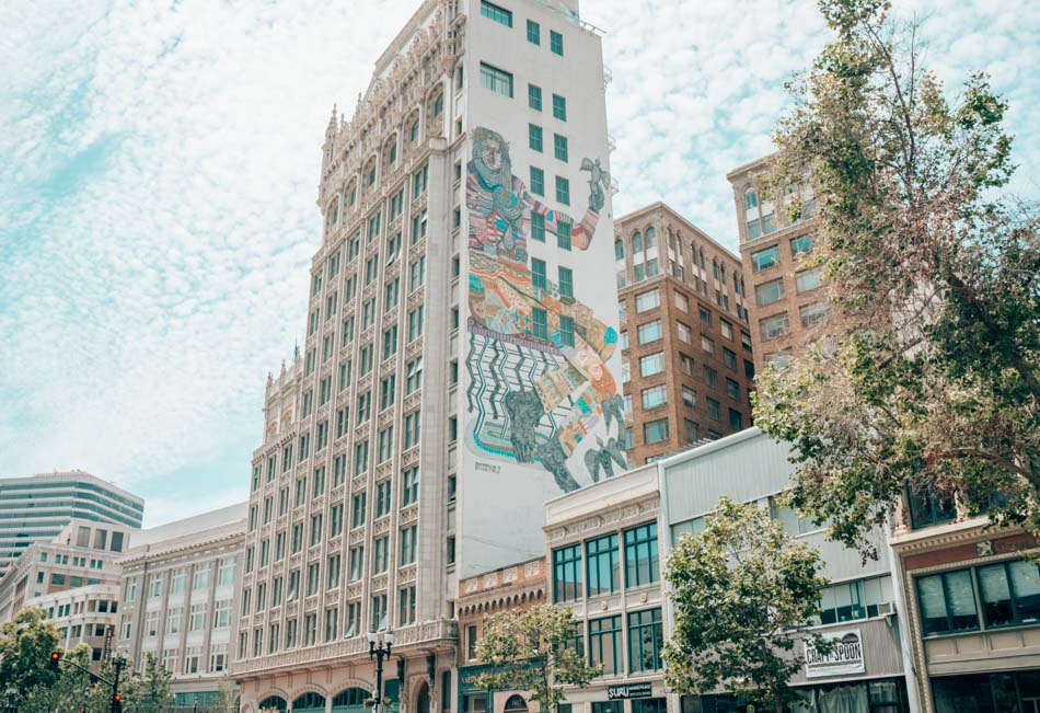 Downtown Oakland, California mural on a building.