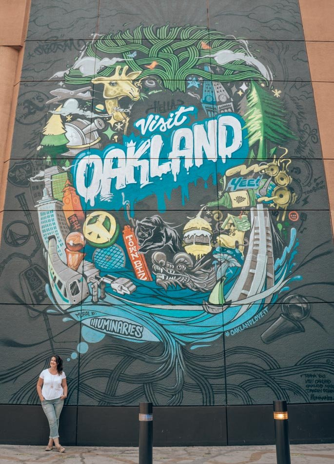 Visit Oakland giant mural and street art at the Oakland Marriott City Center in downtown Oakland, California.
