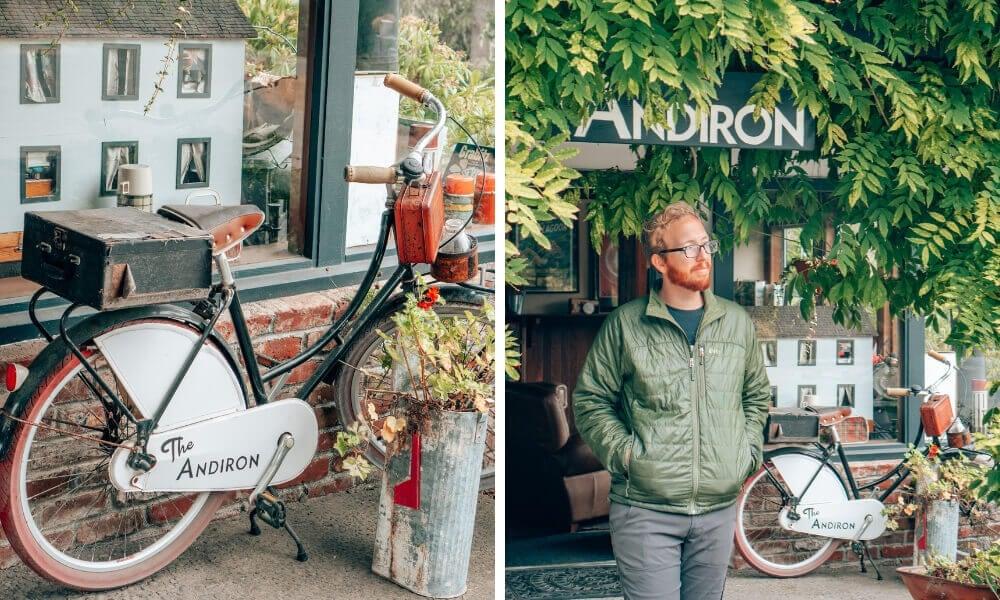 The adorable entrance to the Andiron Inn in Mendocino, California.