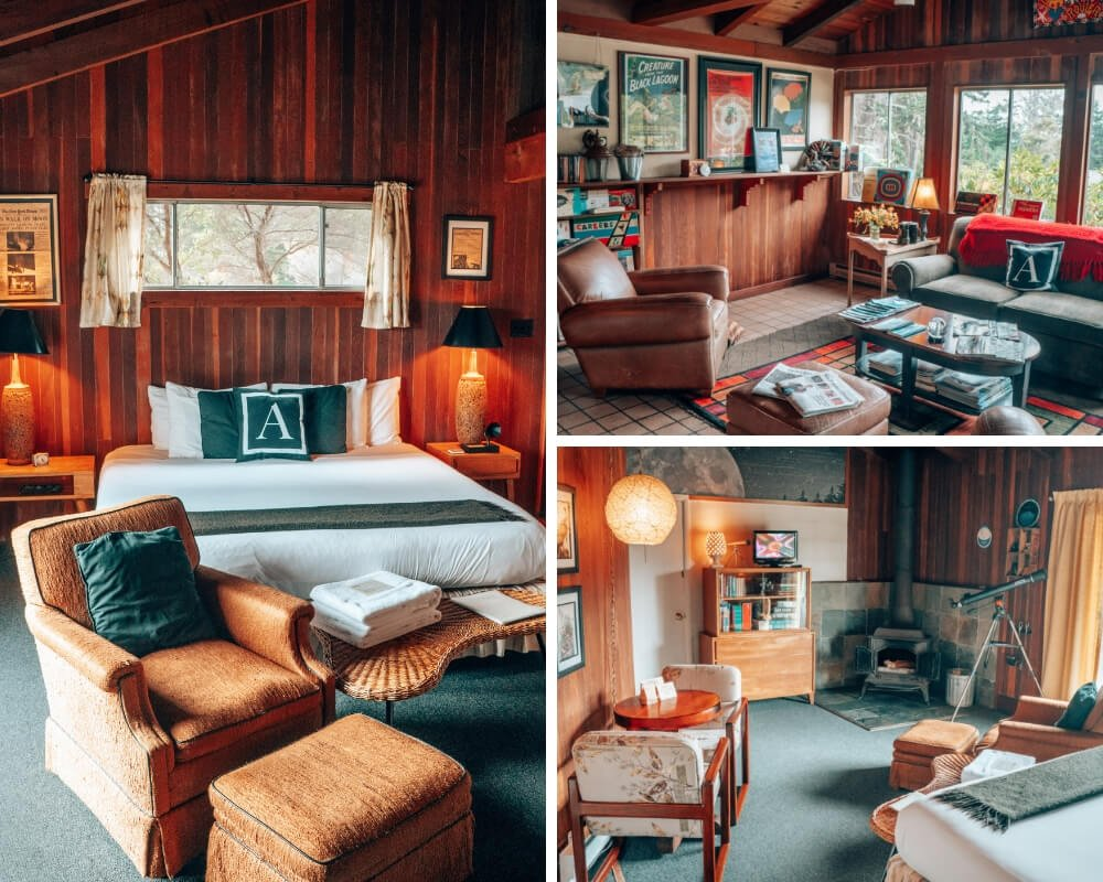 The Andiron Inn in Mendocino, California rooms and lounge.