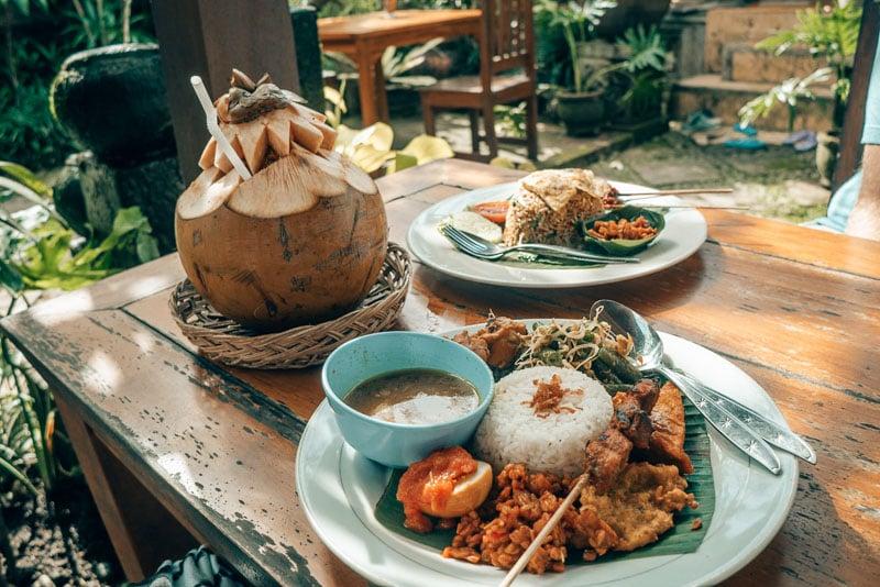 Nasi Campur meal in Ubud, Bali