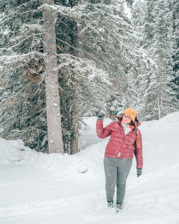Frolicking in the snow in Banff, Canada.