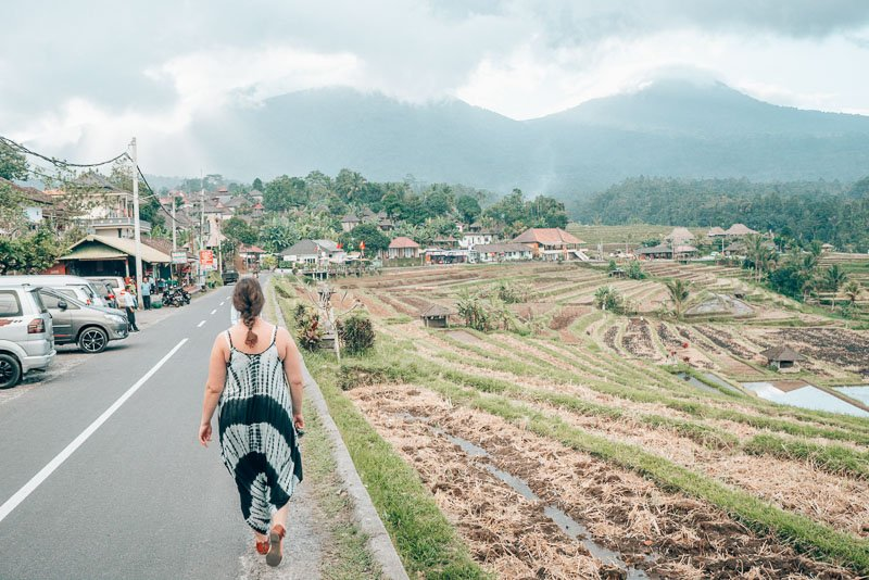 Walking down a street in Bali, Indonesia next to rice terraces and in front of a volcano.