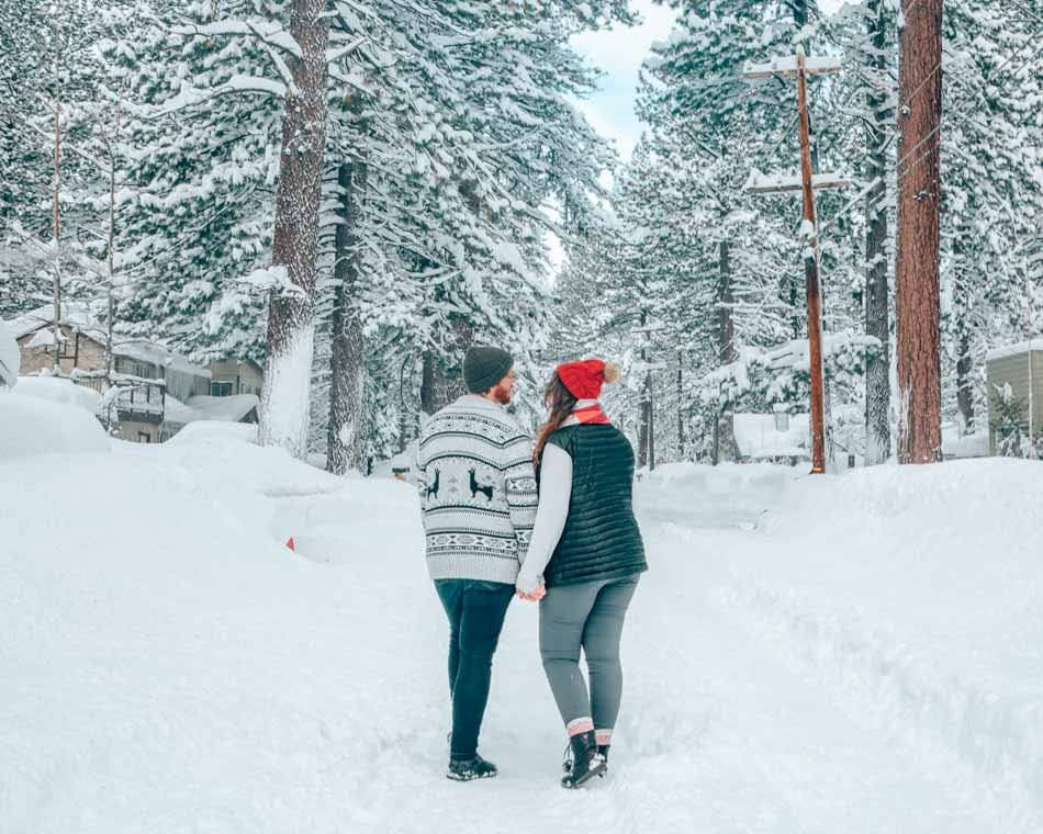 Couple in the snow in Lake Tahoe, California.