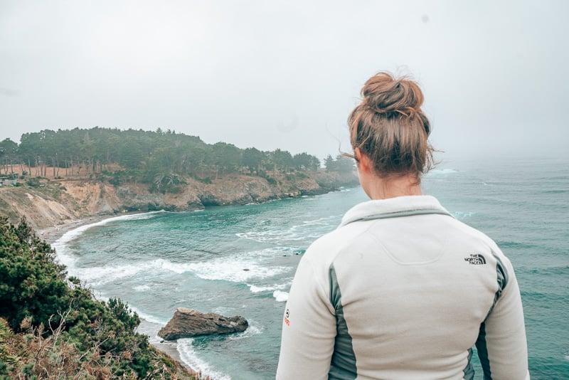 Overlooking a Pacific coast cove in Mendocino, California.
