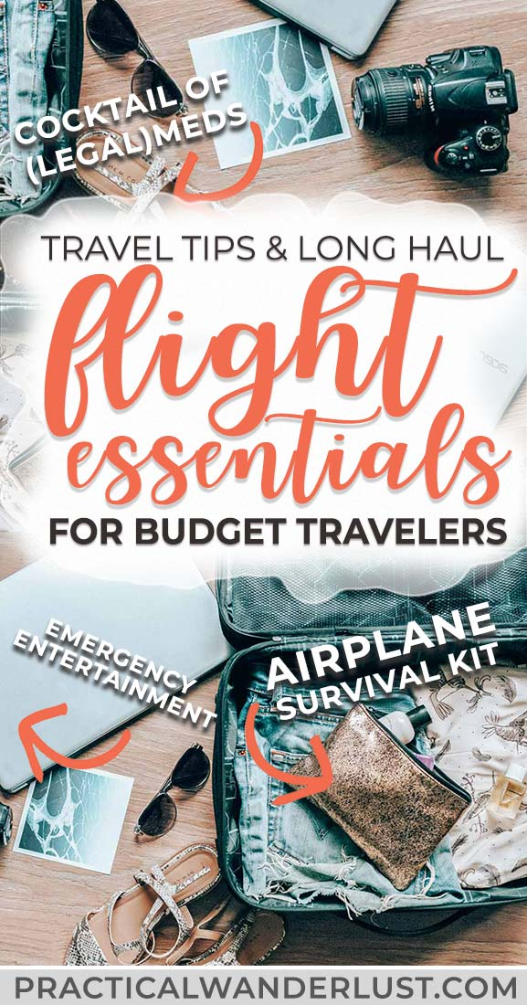 Long haul flight essentials and travel tips for economy fliers. Because let's face it, long flights are the worst part of traveling! From your airplane survival kit to what to wear on the plane, here's everything you need to minimize your misery. #travel #budgettravel