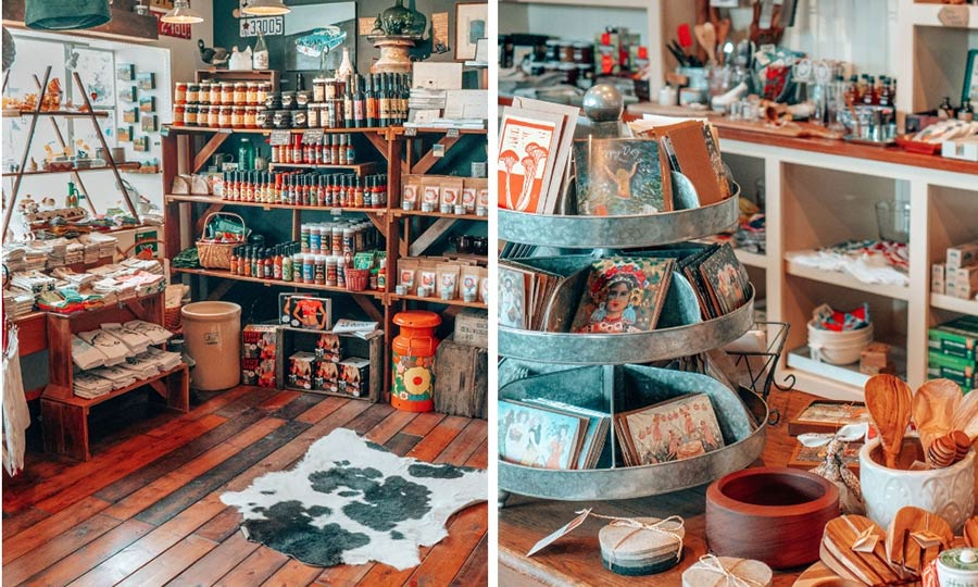 Local shops and products in Mendocino, California.