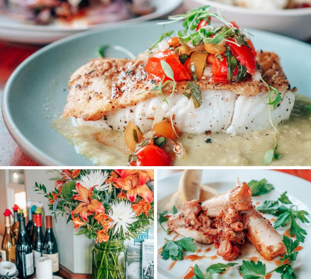 Fresh seafood at Wild Fish restaurant in Mendocino, California! Arrive early or make a reservation - there are only a handful of tables.