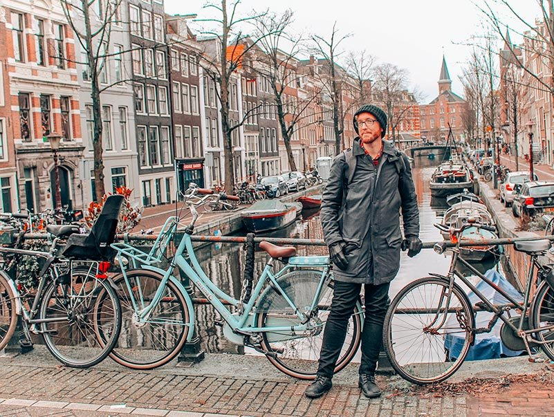 Jeremy in Amsterdam, the Netherlands, bundled up in his warm winter clothes.