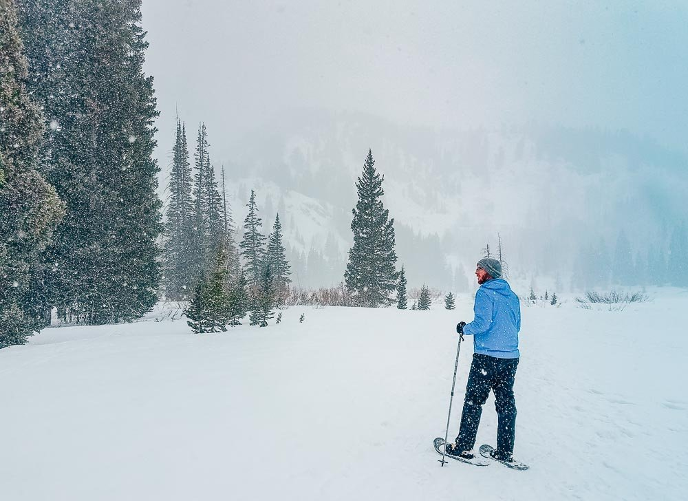 Jeremy now-shoeing at Solitude Ski Resort in a blizzard.