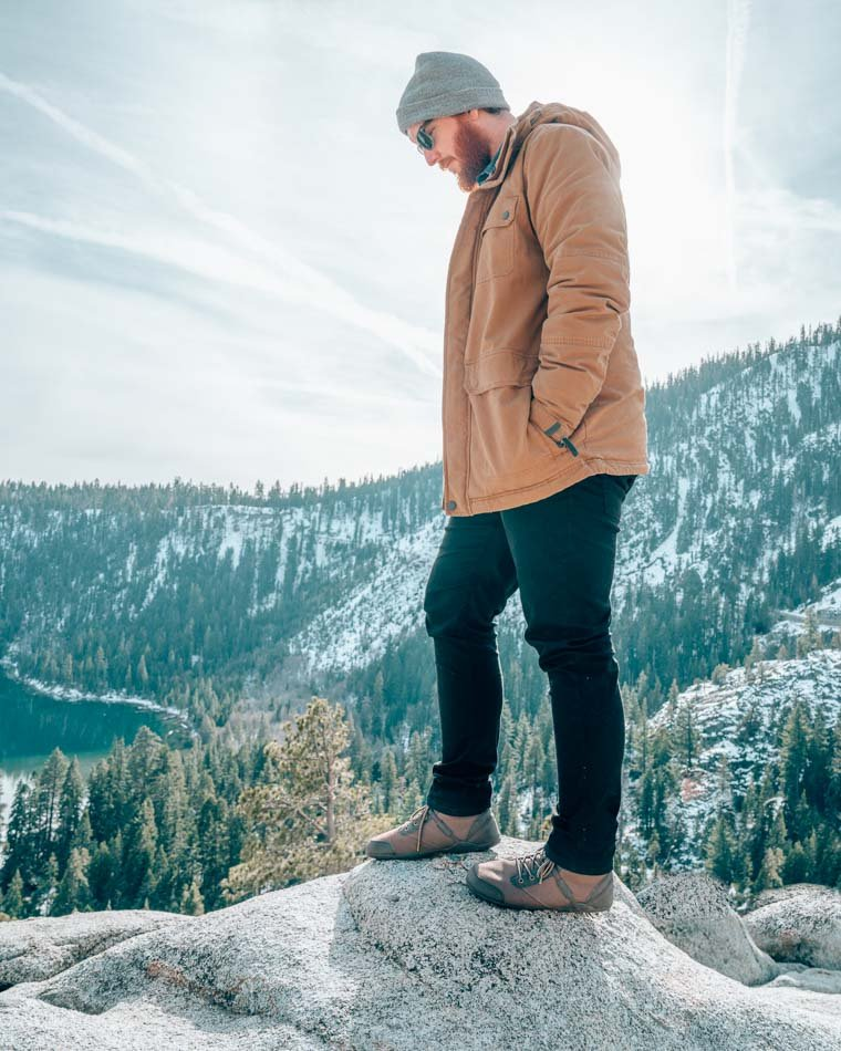Jeremy in the mountains wearing Xero Denver boots.