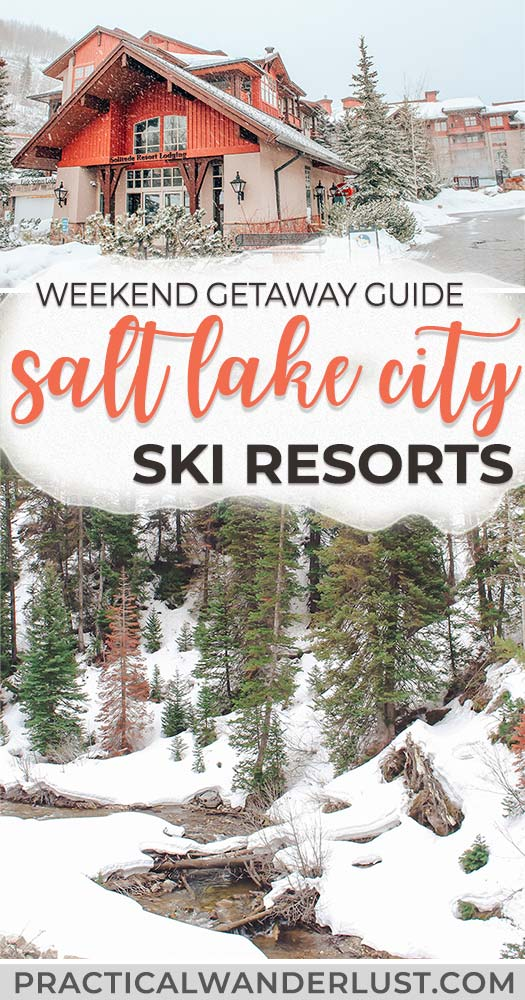 """Salt Lake City, Utah is nicknamed """"Ski City"""" for a reason: there are several incredible ski resorts within an hour's drive of the airport! Here's what you need to know for your Utah travel Salt Lake City winter weekend getaway. #SaltLakeCity #WinterTravel #SkiTrips #USATravel"""