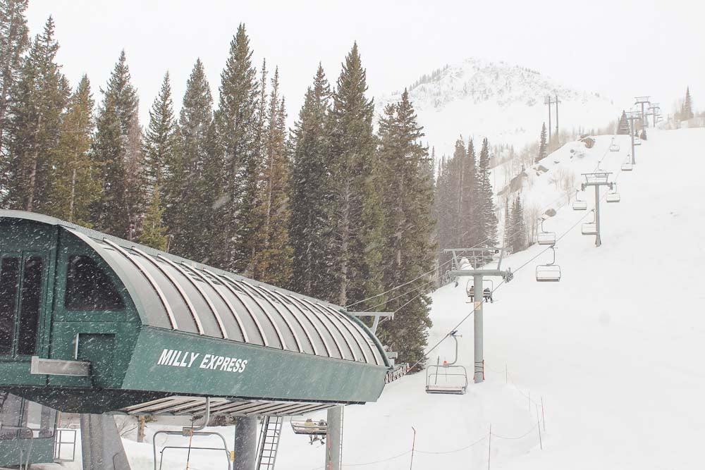 Milly Express ski lift at Brighton Resort in Salt Lake City, Utah.