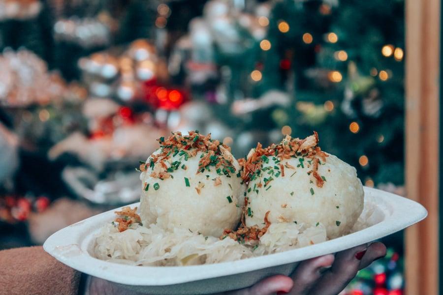 Giant dumplings at a Christmas Market in Vienna, Austria.