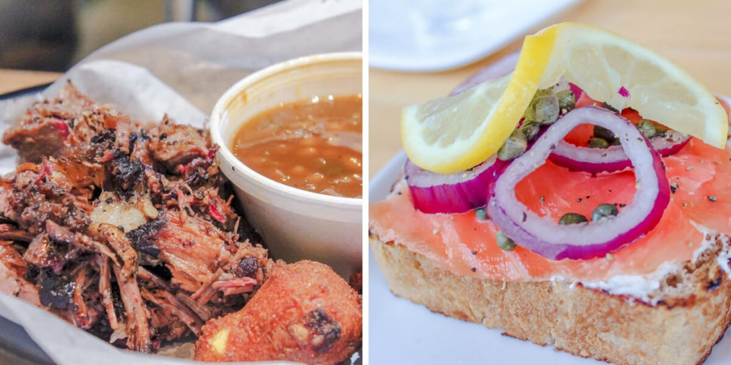 On the left: Brisket from R&R brisket. On the right: fancy lox toast from Publik Roasters.