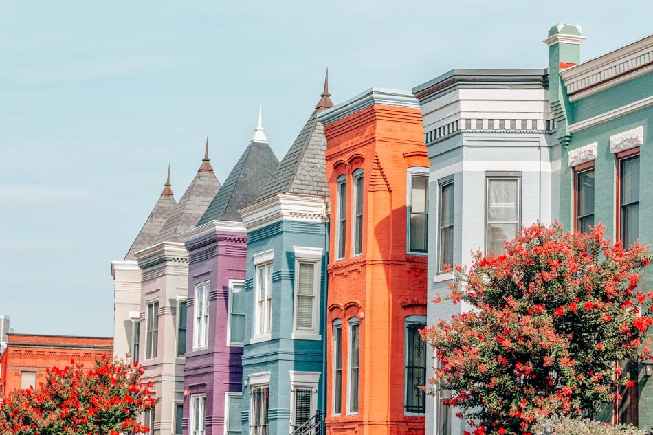 Row houses in the Washington DC neighborhood of Shaw on a summer's day.