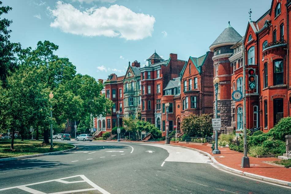 Historic row houses along Logan Circle, in Washington, DC - near Dupont Circle.