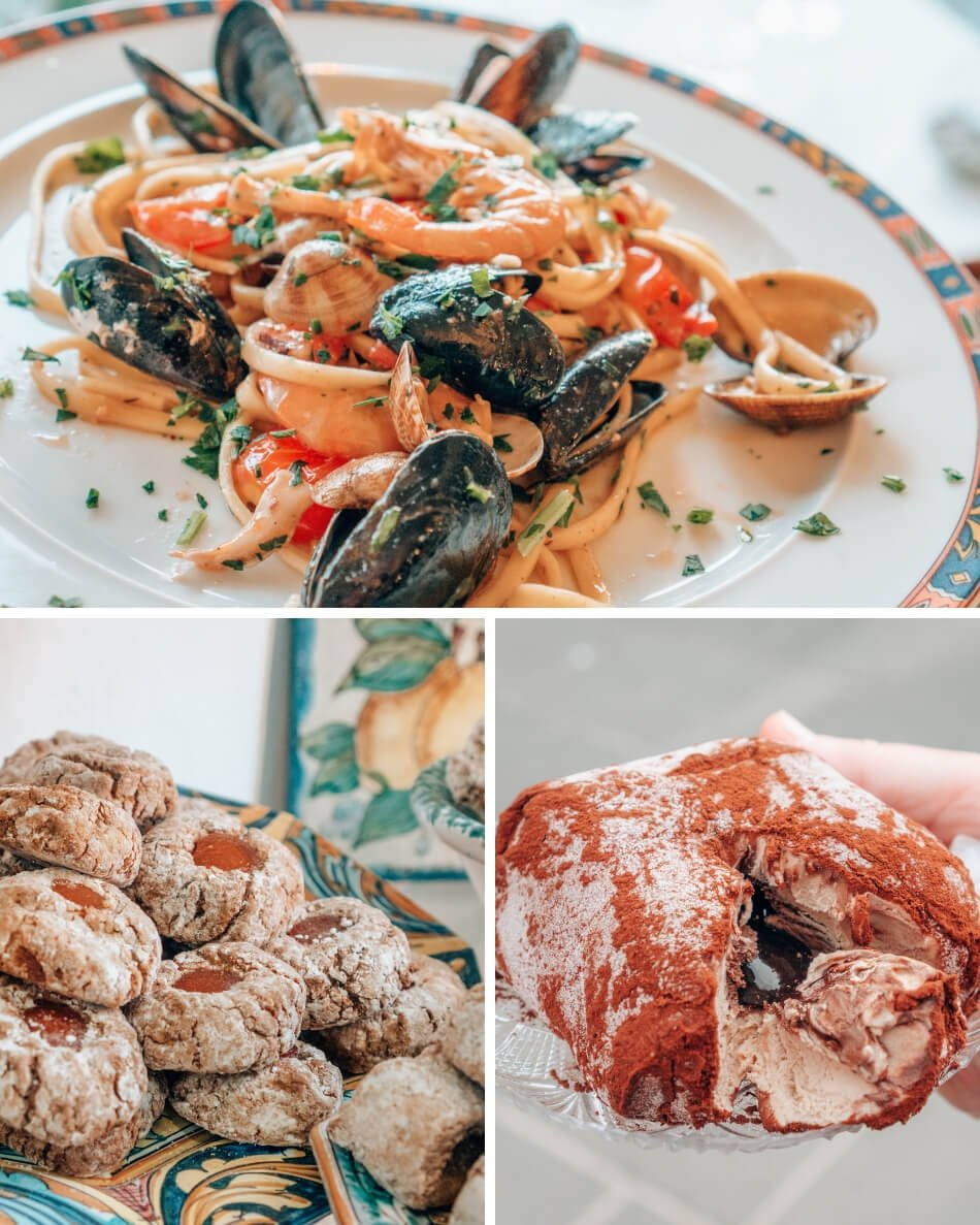 A photo collage of Italian foods: seafood pasta, tartufo de pizzo, and Sicilian cookies.