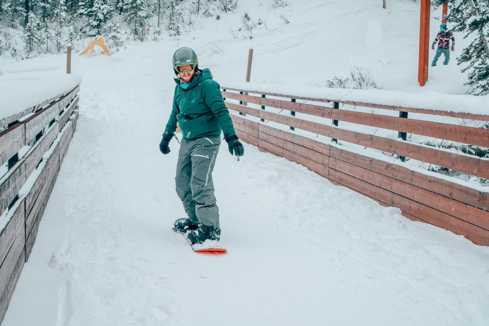 Jeremy Snowboarding in Banff Canada Winter