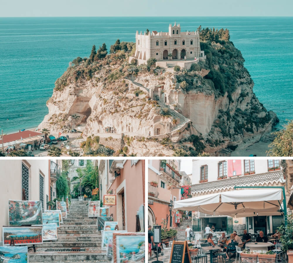 A collage of Taormina and Tropea in southern Italy.