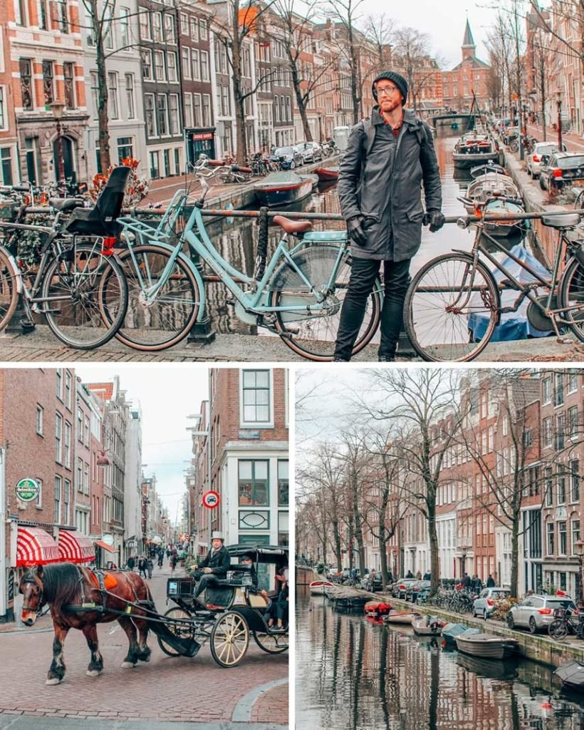 Amsterdam in the winter with its canals and bikes, a perfect stop on a 2 week Europe itinerary.