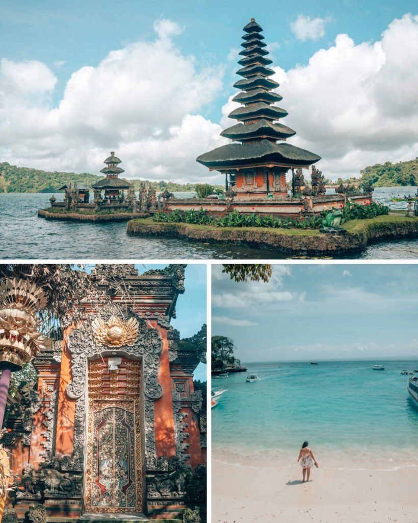 Clockwise from the top: Jatiluweh rice fields in front of Mount Agung, Ulun Danu Beratan water temple, and the Gates of Heaven at Lempuyang Luhur Temple.