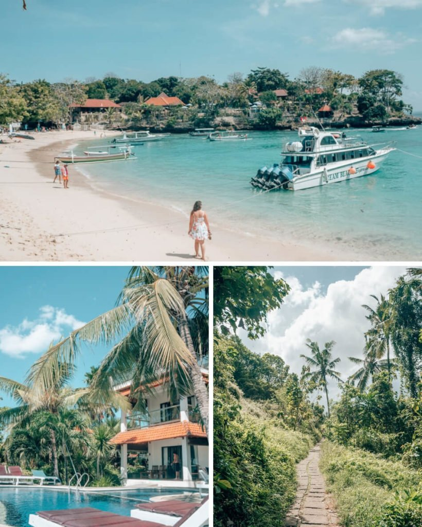 Our 2 week Bali itinerary includes a variety of spots, some more popular than others. Clockwise from the top: Nusa Lembongan, the Ridge Walk in Ubud, and a hotel in Amed.