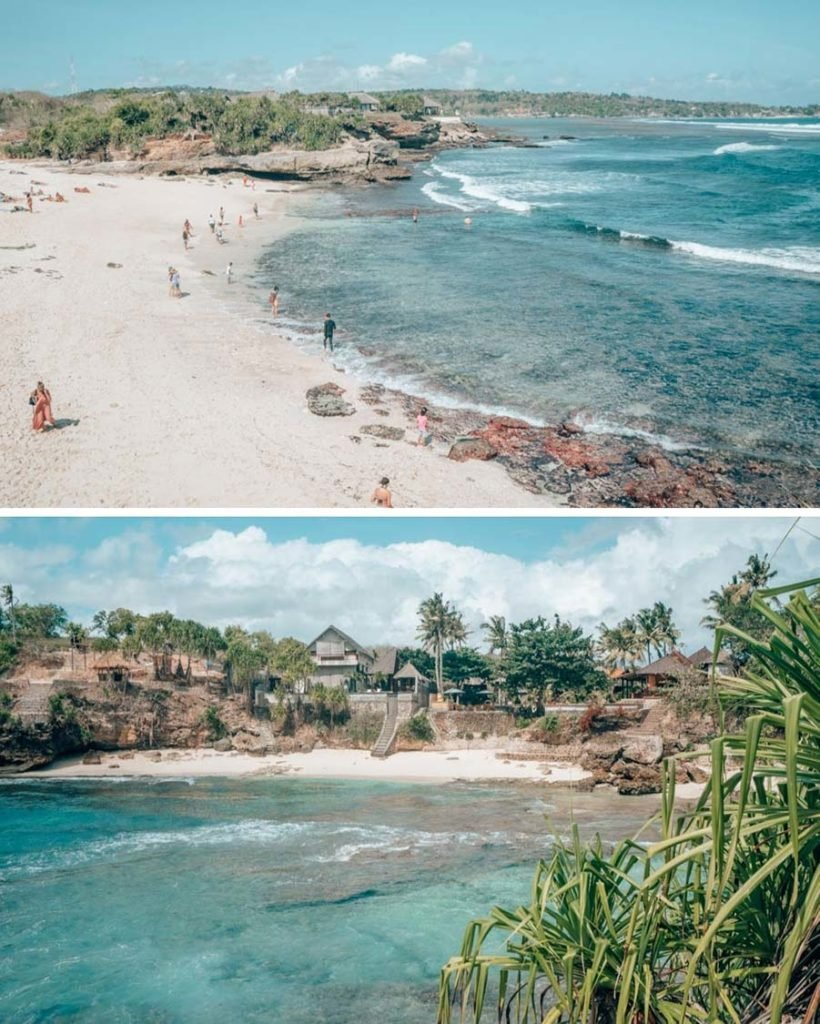 The stunning beaches in Nusa Ceningan, off of Bali, Indonesia, with white sand beaches and bright blue water.