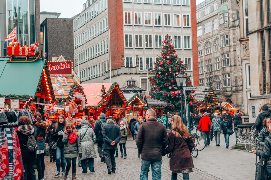 Christmas Market in Old Town Bremen, Germany.