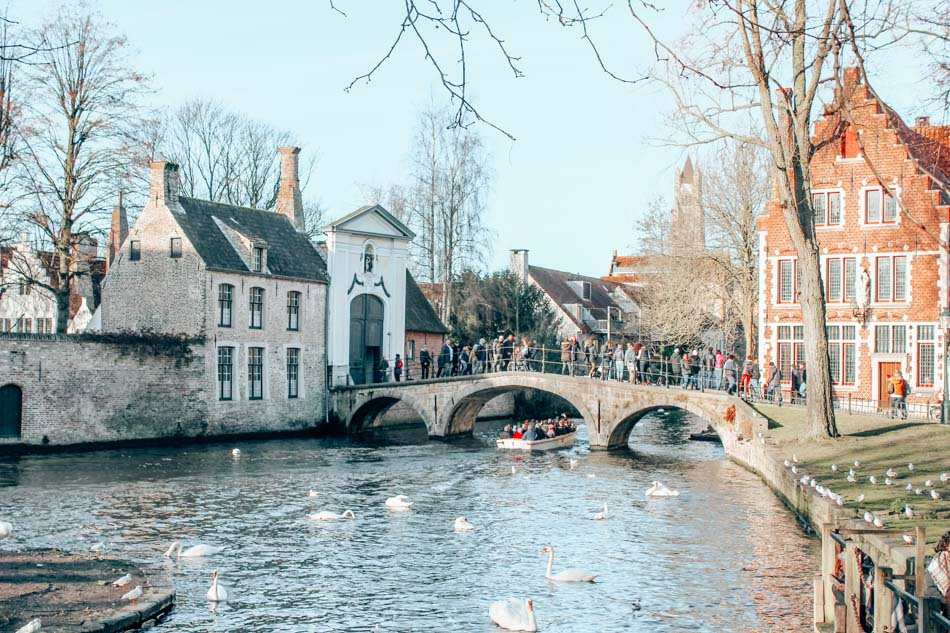 Minnewater Park in Bruges, Belgium with the Lake of Love and the Lover's Bridge (and lots of swans).