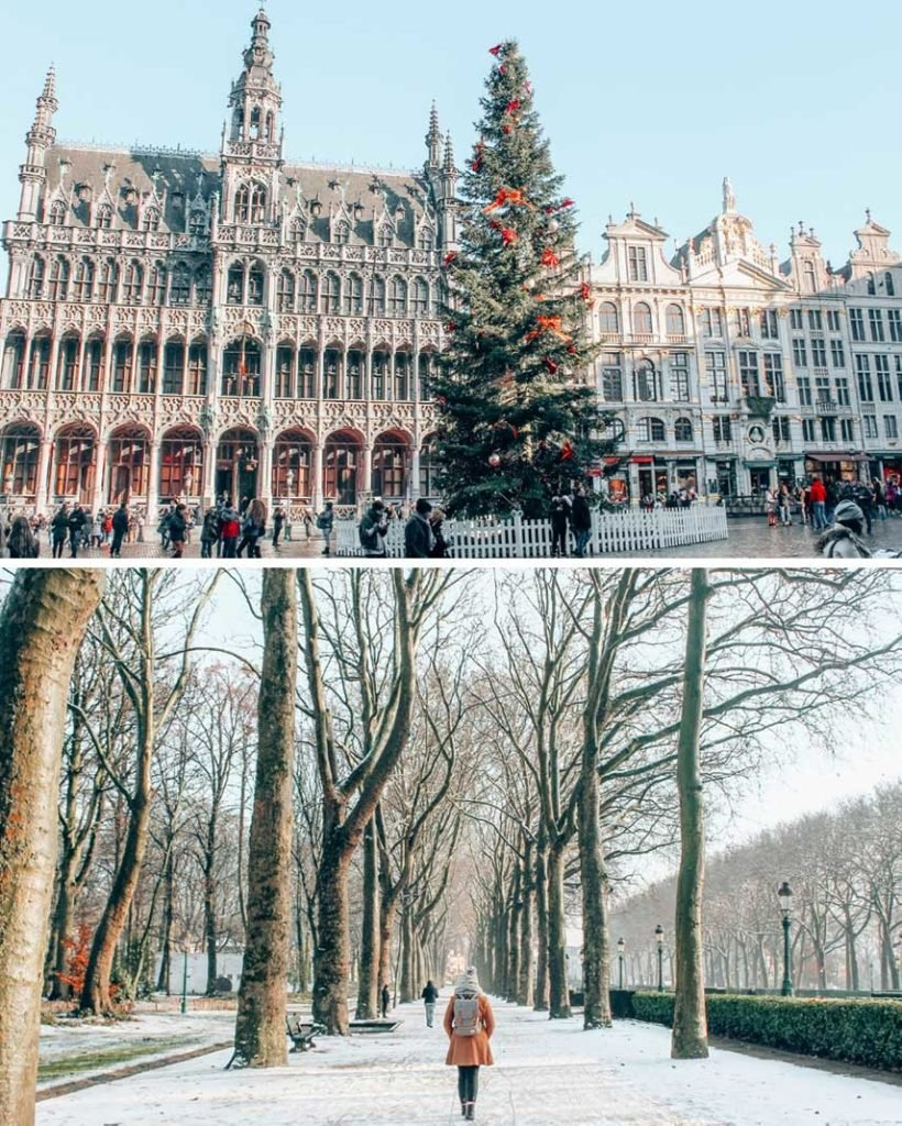 Brussels Grand Place and a snowy tree-lined walk in the winter.