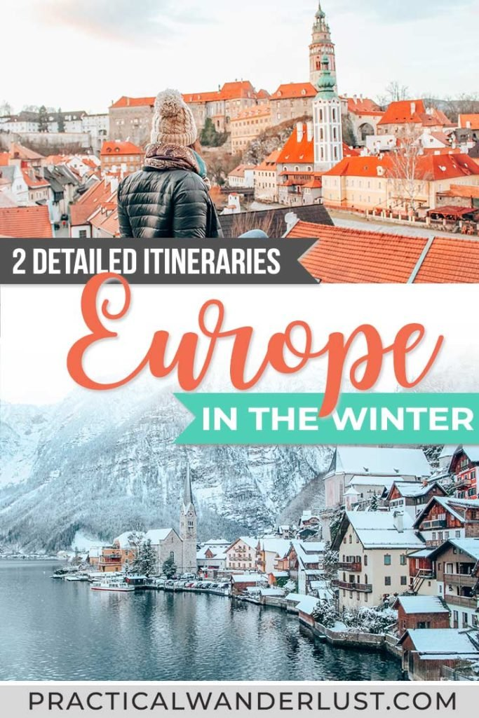TWO detailed winter Europe travel itineraries! The 2-week Northwestern Europe itinerary for winter takes you from Copenhagen to Bremen to Amsterdam to Bruges to Brussels. The Central Europe winter itinerary takes you from Vienna to Hallstatt to Cesky Krumlov to Prague. From Christmas Markets to castles, these Europe travel itineraries have it all! #Europe #WinterTravel