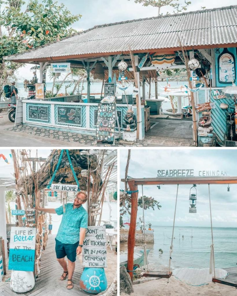 The adorable Sea Breeze Ceningan restaurant on tiny Nusa Ceningan, an island off the coast of Bali. We recommend spending a few days exploring the Nusa Islands on your trip to Bali!