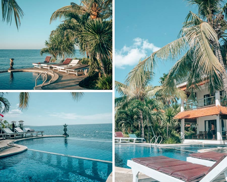 Three Brothers Bungalows in Amed, Bali with infinity pool, ocean views, and palm trees.